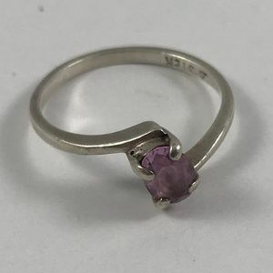 Vintage Pink Sapphire Sterling Silver Ring, Size 6